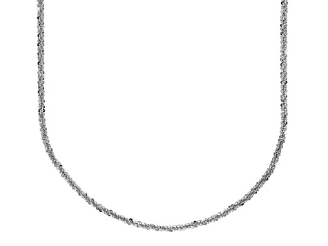 Rhodium Over Silver Criss Cross Link Chain Necklace 18 inch