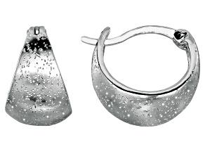 Sterling Silver Oval Graduated Stardust Hoop Earrings