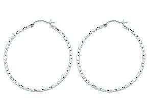 Sterling Silver 2x40mm Fancy Hoop Earrings