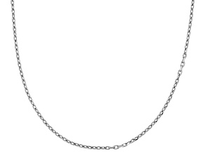 Rhodium Over Silver Cable Link Chian Necklace 18 inch