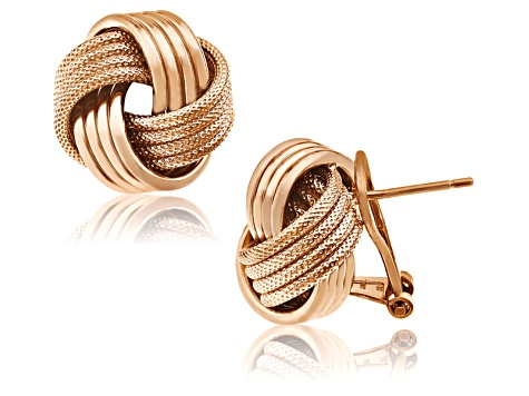 14k Rose Gold Over Sterling Silver Love Knot Earrings