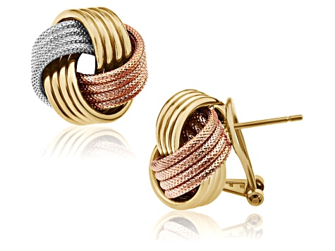 Rhodium Over Silver 14k Yellow & Rose Gold Over Silver Love Knot Earrings
