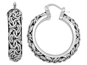 Rhodium Over Sterling Silver Hoop Earrings