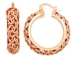 14k Rose Gold Over Sterling Silver Hoop Earrings