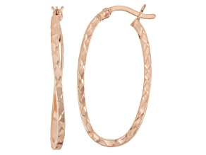 14k Rose Gold Over Sterling Silver Tube Hoop Earrings