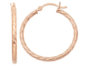 14k Rose Gold Over Sterling Silver Twisted Tube Hoop Earrings