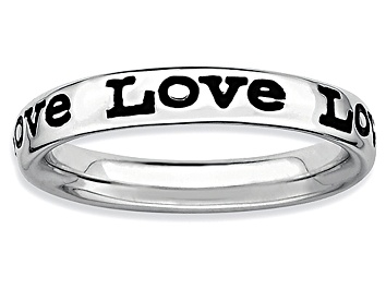 Picture of Black Enamel Rhodium Over Sterling Silver Love Band Ring