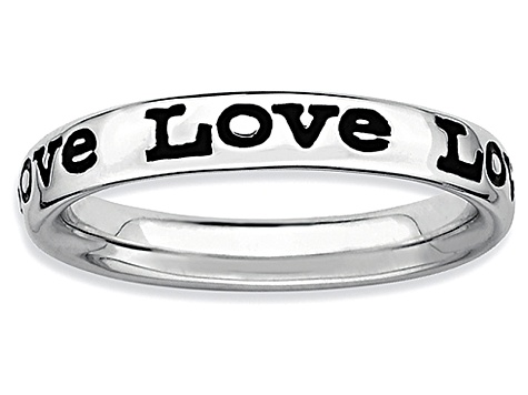 Black Enamel Rhodium Over Sterling Silver Love Band Ring