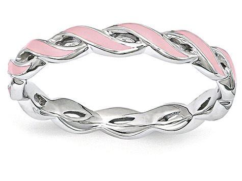 Pink Enamel Rhodium Over Sterling Silver Twisted Band Ring