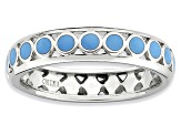 Blue Enamel Rhodium Over Sterling Silver Dotted Band Ring