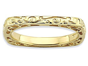 14k Yellow Gold Over Sterling Silver Textured Square Band Ring