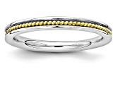 14k Yellow Gold Over Sterling Silver Grooved Band Ring