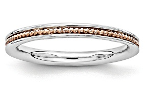 14k Rose Gold Over Sterling Silver Grooved Band Ring