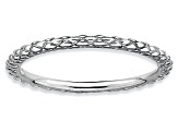 Rhodium Over Sterling Silver Diamond Cut Band Ring