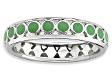 Green Enamel Rhodium Over Sterling Silver Dotted Band Ring