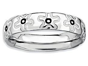 Black And White Enamel Rhodium Over Sterling Silver Flower Band Ring