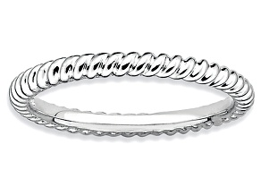 Rhodium Over Sterling Silver Twisted Band Ring