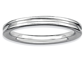 Rhodium Over Sterling Silver Grooved Band Ring