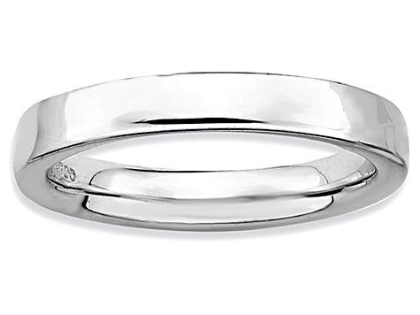 Rhodium Over Sterling Silver Squared Band Ring