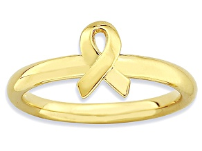 14k Yellow Gold Over Sterling Silver Awareness Ribbon Band Ring