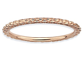14k Rose Gold Over Sterling Silver Diamond Cut Band Ring