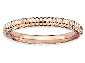 14k Rose Gold Over Sterling Silver Fancy Band Ring