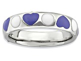 Purple And White Enamel Rhodium Over Sterling Silver Hearts Band Ring