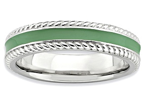 Green Enamel Rhodium Over Sterling Silver Band Ring