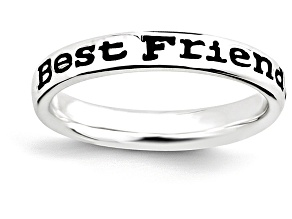 Black Enamel Rhodium Over Sterling Silver 'Friends' Band Ring
