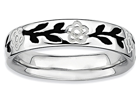 Black And White Enamel Rhodium Over Sterling Silver Branch With Leaves Band Ring