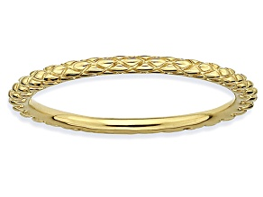 14k Yellow Gold Over Sterling Silver Diamond Cut Band Ring