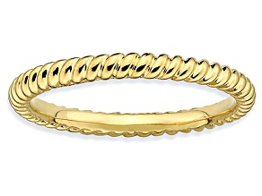 14k Yellow Gold Over Sterling Silver Twisted Band Ring