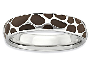 Brown Enamel Rhodium Over Sterling Silver Giraffe Print Band Ring