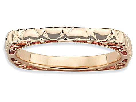14k Rose Gold Over Sterling Silver Textured Square Band Ring