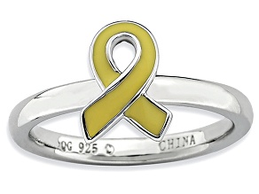 Yellow Enamel Rhodium Over Sterling Silver Awareness Ribbon Band Ring