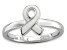 White Enamel Rhodium Over Sterling Silver Awareness Ribbon Band Ring