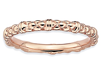 Picture of 14k Rose Gold Over Sterling Silver Cable Band Ring