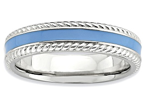 Blue Enamel Rhodium Over Sterling Silver Band Ring