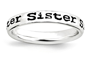 Black Enamel Rhodium Over Sterling Silver 'sister' Band Ring