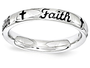 Black Enamel Rhodium Over Sterling Silver 'Faith' And Crosses Band Ring