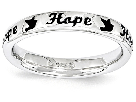 Black Enamel Rhodium Over Sterling Silver 'Hope' And Birds Band Ring