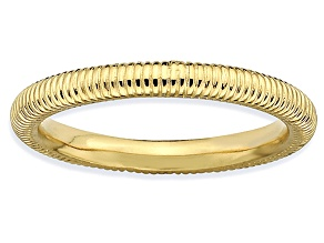 14k Yellow Gold Over Sterling Silver Textured Band Ring