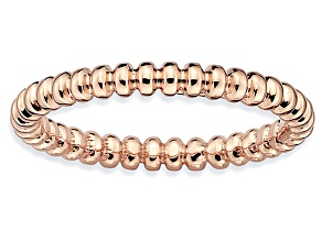 14k Rose Gold Over Sterling Silver Beaded Band Ring