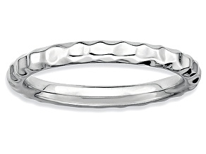Rhodium Over Sterling Silver Hammered Band Ring