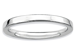 Rhodium Over Sterling Silver Polished Band Ring