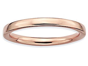 14k Rose Gold Over Sterling Silver Polished Band Ring