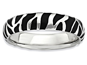 Black Enamel Rhodium Over Sterling Silver Zebra Stripes Band Ring