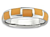 Orange Enamel Rhodium Over Sterling Silver Geometric Design Band Ring