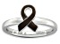 Brown Enamel Rhodium Over Sterling Silver Awareness Ribbon Band Ring
