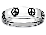 Black Enamel Rhodium Over Sterling Silver Peace Sign Band Ring